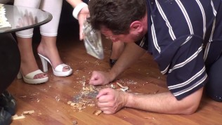 cindy and melady humiliate him with feeding from floor and shoes